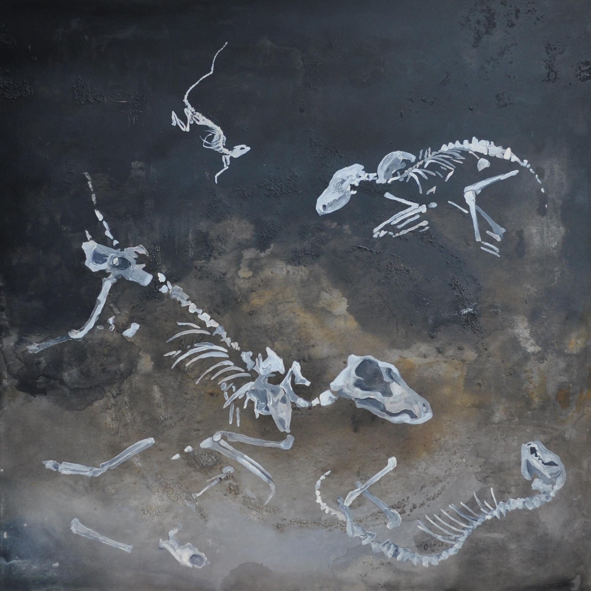 Grzebowisko, 100x100 cm, akryl na płótnie, 2014