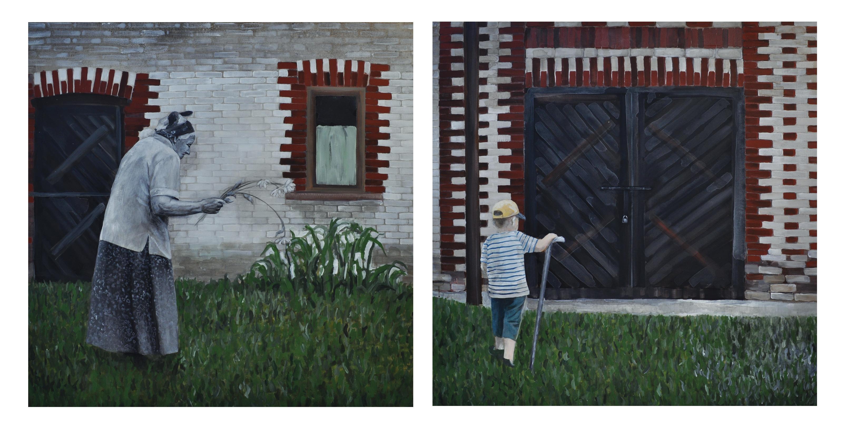 Ty zawsze przy mnie stój, dyptyk (2x100x100 cm), akryl na płótnie, 2014
