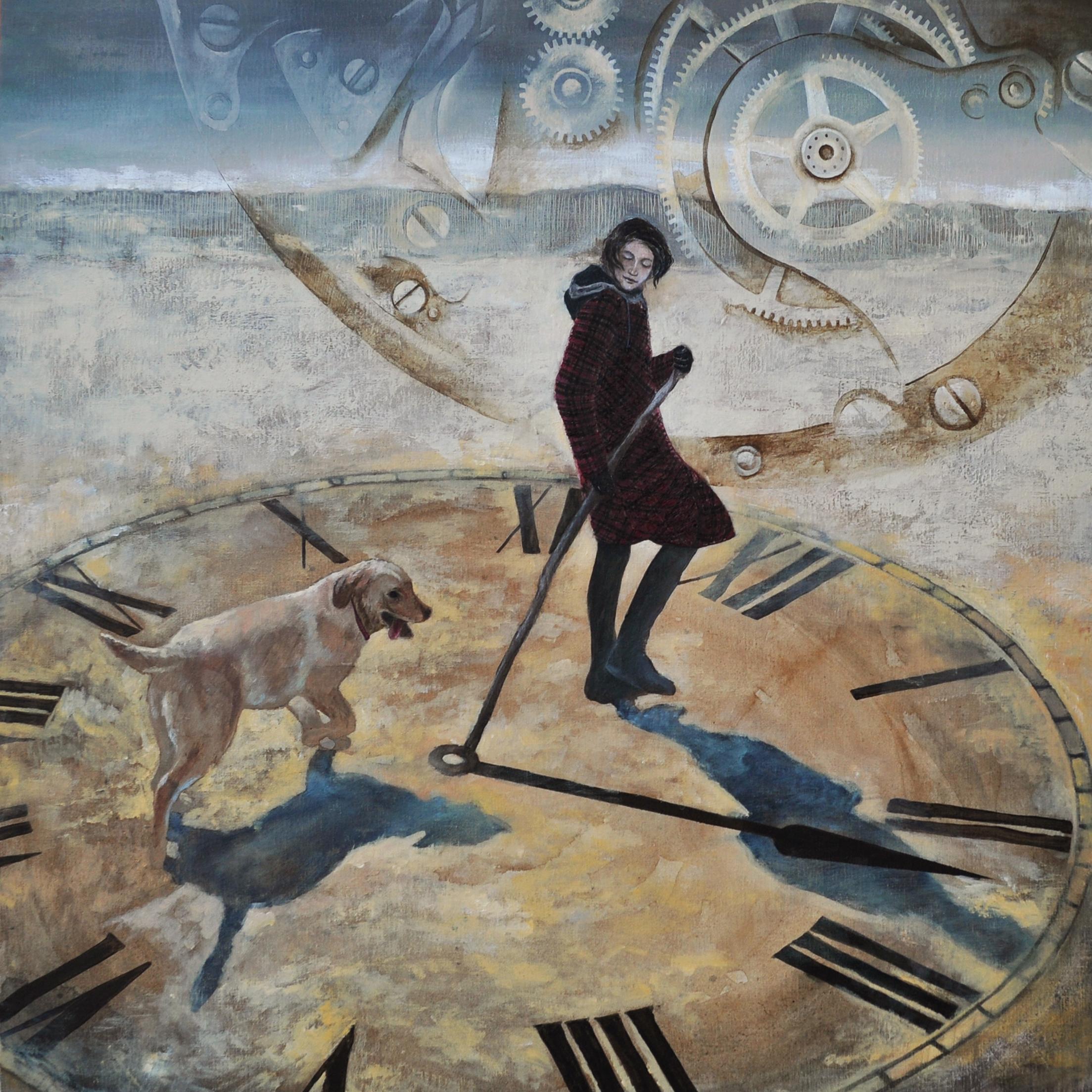 Coniedzielne zatrzymywanie czasu, 100x100 cm, akryl na płótnie, 2014