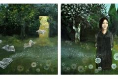 The garden of imagination, dyptyk (2x100x100 cm), akryl na płótnie, 2014